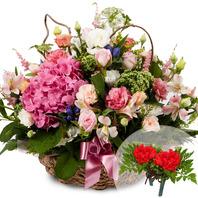 핑크수국꽃바구니(코사지무료)